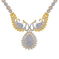 Glittering Ceremonial Peacock Diamond Necklace