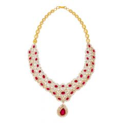 Ravishing Gemstone Diamond Gold Necklace
