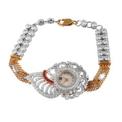 Glossy Sparkling CZ With Pink Stone 18kt Gold Watch - WAT1