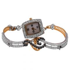 Elegant Glossy Glittering CZ With Black Stone Curved 18kt Gold Watch - WAT2