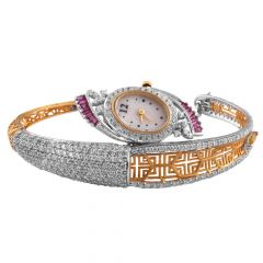 Elegant Glossy Glittering CZ With Pink Stone Filigree 18kt Gold Watch - WAT3