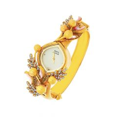 Titan Raga Enamel Leaf Link Openable Gemstone Gold Watch