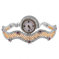 Glittering CZ With Pink Stone Floral 18kt Gold Watch - WAT7