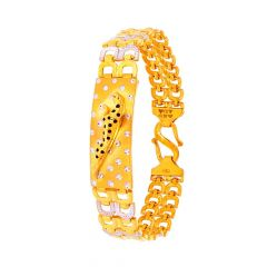 Glossy Finish Rhodium Polish Cheeta Design Gold Bracelet
