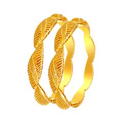 Traditional Cutout Gold Bangle (Set Of Two)