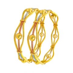 Pleasing Wavy Look Gold Bangles (Set Of Two)