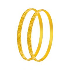 Unique Traditional Engraved Gold Bangle (Set Of Two)