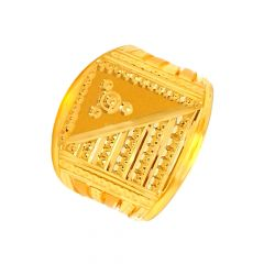 Dynamic Textured Gold Ring For Him