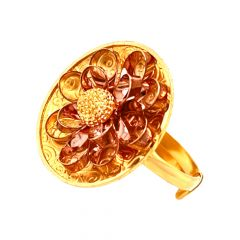 Floral Bloom Layered Textured Gold Adjustable Ring