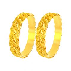 Winsome Traditional Rope Swirl Gold Bangles (Set Of Two)