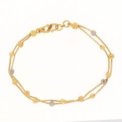 Box Two Line Chain Design With Diamond Cut Rhodium Polish Linked Gold Bead Ball Bracelets-ZKDB005