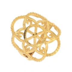 Glossy Finish Diamond Cut Floral Design Gold Ring-ZKDR009