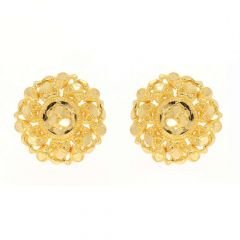 Glossy Finish Floral Design Traditional Gold Earrings-ZKDT006
