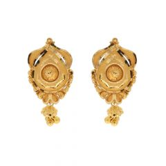 Matte Finish Traditional Drop Design Gold Earrings-ZKDT017