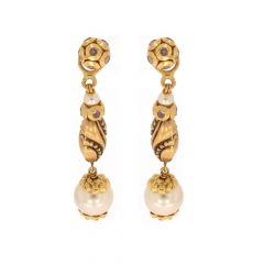 Antique Finish Dangler Drop With Synthetic Pearl Stone Gold Earrings-ZKDT023