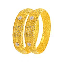 Traditional Embossed Textured Rhodium Gold Bangles (Set Of Two)
