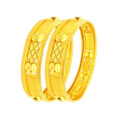 Classy Textured Embossed Gold Bangle (Set Of Two)