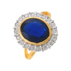 Sparkling Prong Set Queen Design Synthetic Sapphire Studded Gold Ring