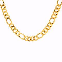 Glossy Finish Holo Curb Link Gold Chain - C5164