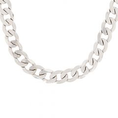 Glossy Finish Curb Linked Design Silver Chain