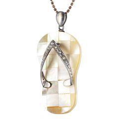 Slipper Mother Of Pearl Italian Silver Pendant - Chappal