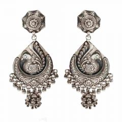 Glossy Oxidized Finish Peacock Floral Jhumki Design Silver Earrings