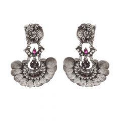 Glossy Oxidized Finish Peacock Floral Temple Coins Design Studded With Synthetic Colourstone Silver Earrings