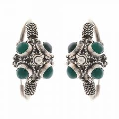 Glossy Oxidized Finish Bali Ring Design Studded With Synthetic Colour Stone Silver Earrings