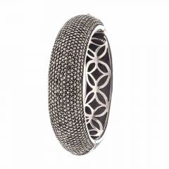Glossy Oxidized Band Design Studded With Synthetic Marcasite Stone Silver Bangles