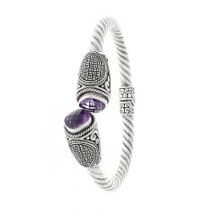 Glossy Oxidized Finish Engraved Twisted Spiral Design Studded With Marcasite Silver Kada Bangles