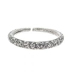 Oxidized Engraved Leafy Foot Kada Design Silver Anklet