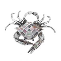 Oxidized Crab Design Silver Brooch Accessories