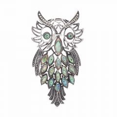 Oxidized Owl Design Studded With Marcasite Silver Brooch Accessories