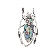 Oxidized Cockroach Design Studded With Synthetic Shell Silver Brooch Accessories