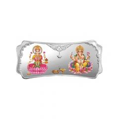 50 gm Stylised Laxmi Ganesha  Silver Bar