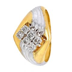Glossy Finish Two Tone Prong Set Diamond Ring