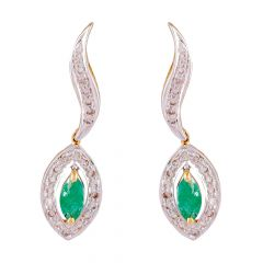Sparkling Drop Marquise Cut Emerald With Cluster Diamond Wave Earring-DHS-151846