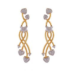 Elegant Floral Drop Heart Cluster Diamond Earring-DHS-152501