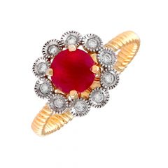 Spiral Twisted Bazel Flush Set Floral Design Synthetic Red Stone Cluster Diamond Ring-DLR152495