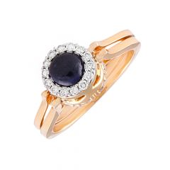Elegant Sparkling Cluster With Cabochon Synthetic Blue Sapphire Rotating Diamond Ring-DLR152544