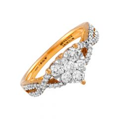Glossy Glittering Pressure Pave Set Cluster Heart Design Diamond Ring - DR294