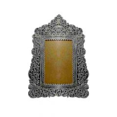 Antique Oxidized Finish Leafy Design Photo Frame Silver Artifact