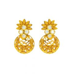 Traditional Textured Floral CZ Diamond Earrings