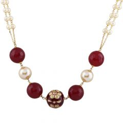 Elegant Red Stone Floral With Pearl Beads Gold Chain - GC855