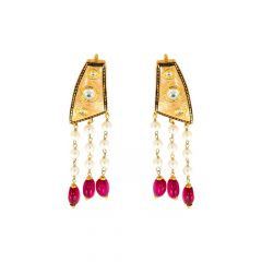 Classical Layered Pearl Kundan Gold Earrings