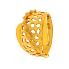 Matte Finish Cutout Contemporary Design Gold Ring