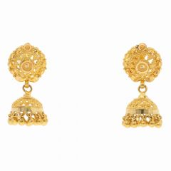 Glossy Filigree Finish Drop Gold Ball Jhumki Earring-ET4380