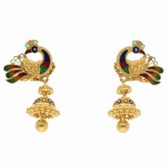 Enamel Peacock Design Drop Gold Ball Jhumki Earring-ET5346