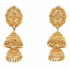 Traditional Embossed Gold Ball Dual Layer Jhumki Earring-ET6232
