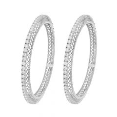 Elegant Eternity CZ Silver Bangle